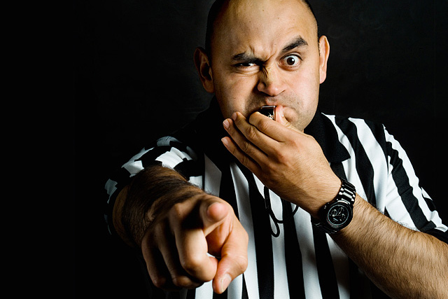 referee-headshot-portrait-commercial-photographer-medium-format-hasselblad-studio. Whistle red card, foul