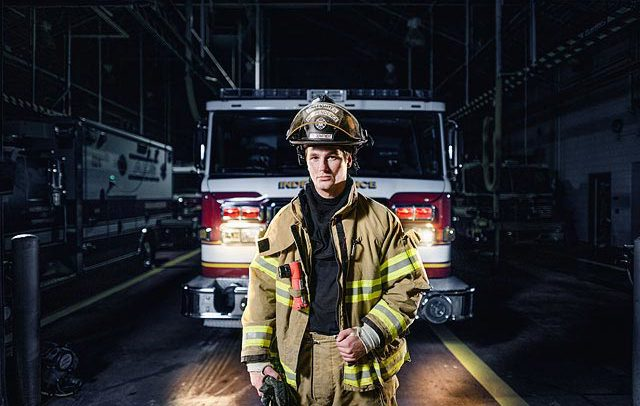 Commercial portrait of a firefighter in Michigan
